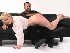 Blonde woman spanked hard