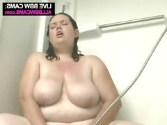 Brunette bbw sophie takes shower and..