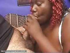 Hot ebony bbw sucking cock and getting..