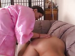 Chubby asian blows cock and dildos her..