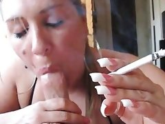 Milf smoking bj