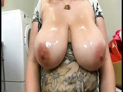 Beautiful plumper with oiled tits..
