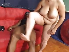 Horny bbw enjoys a black cock