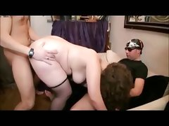 Bbw lea gets two guys
