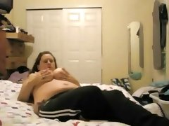 Chubby brunette shows and masturbates..
