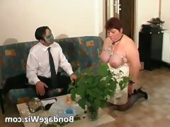 Tied up fat mature slut enjoying